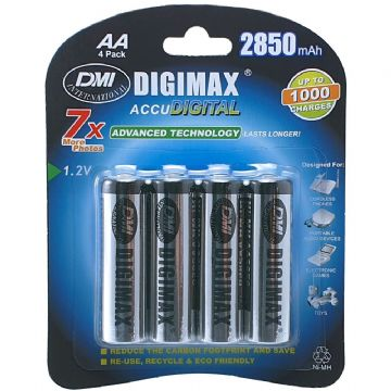 Digimax AA 2850 mAh 1.2V Ni-MH Rechargeable Batteries